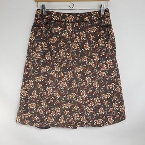 Kenneth Cole NY Brown Floral A Line Skirt